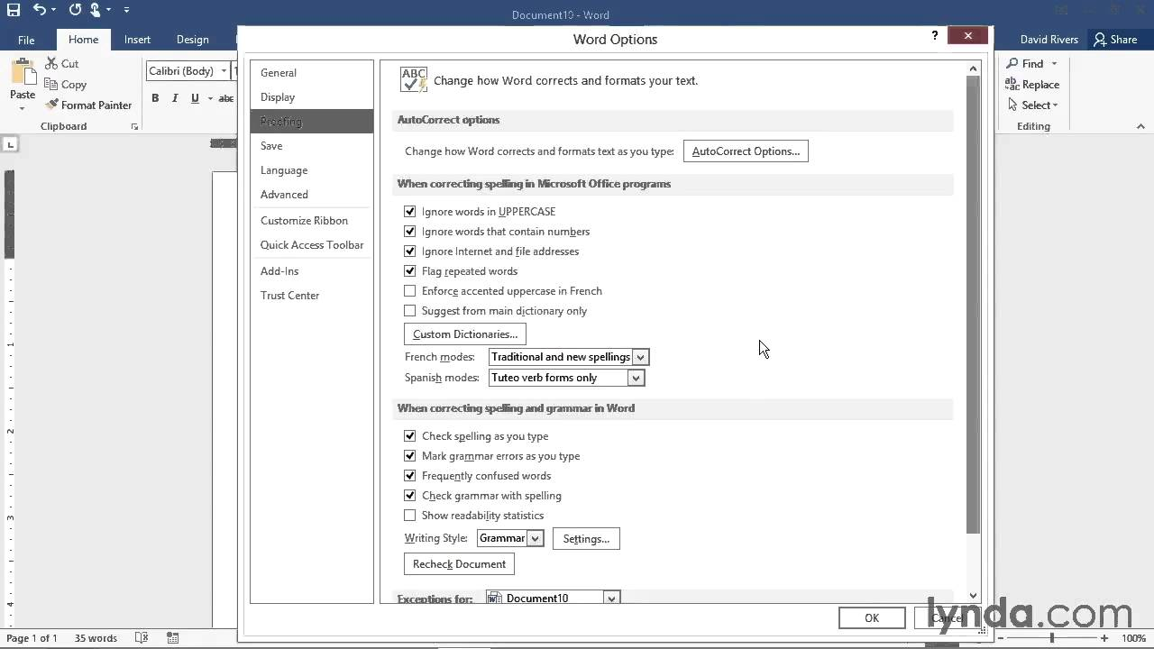 how to change default settings in word 2016