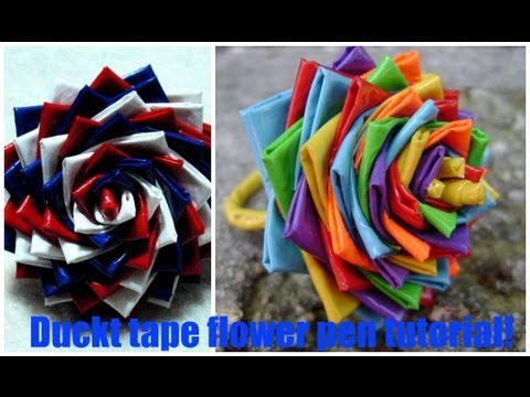 Diy How To Make A Duct Tape Flower Pen Youtube