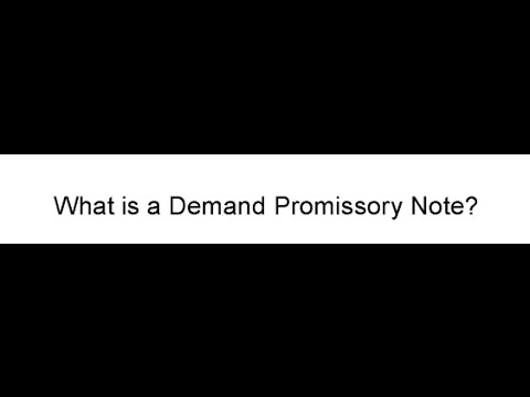 What Is A Demand Promissory Note  Youtube