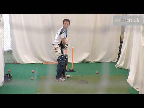 In the nets: England batsman Eoin Morgan faces Merlyn bowling machine