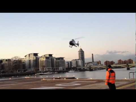 EBG Helicopters EC120 Landing on the pad at London Heliport Battersea