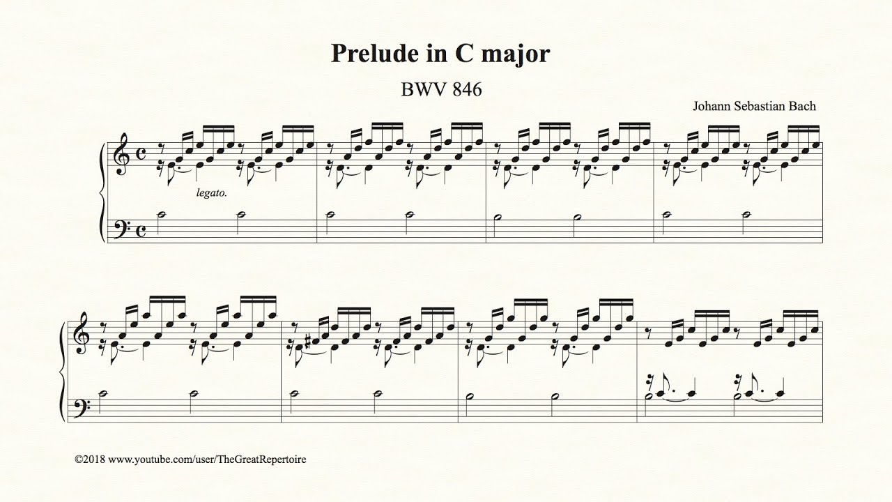 bach prelude in c major bwv 846 youtube