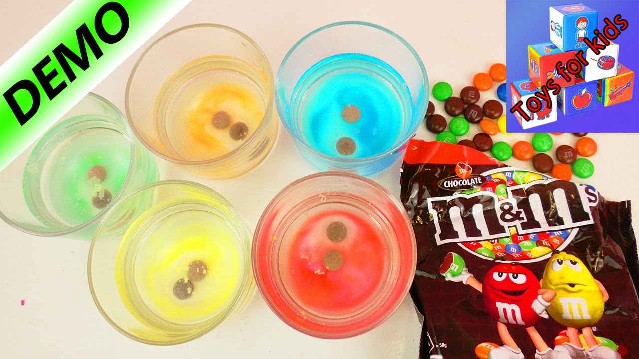 Peeling off the M on M&Ms - CHOCOLATE EXPERIMENT - Make food coloring - Demo