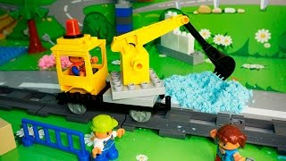 Машинки ЛЕГО в мультике Опасность на стройке.Машинки:Самосвал.Бульдозер.Экскаватор.Машинки мультики.