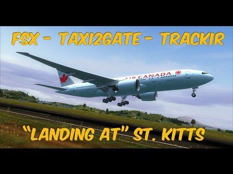 FSX - PMDG 777 Landing at St. Kitts(TKPK) - REX - TrackIR