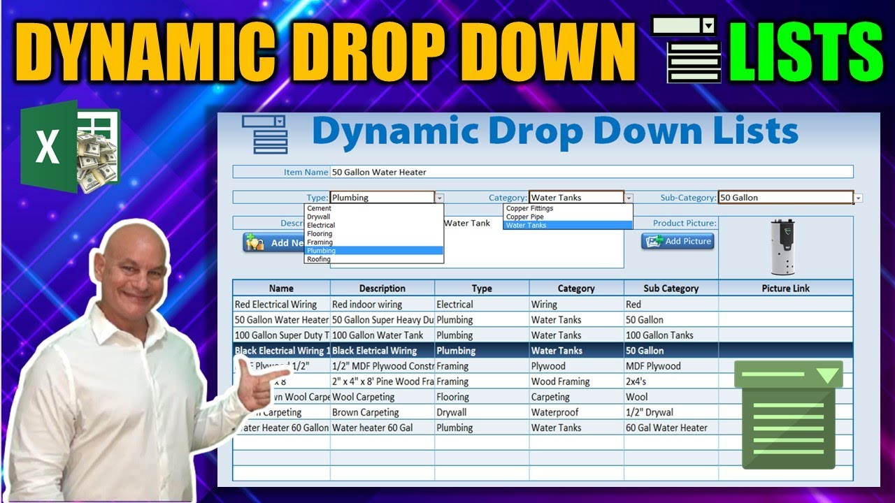 how to create dynamic drop down lists in excel youtube. Black Bedroom Furniture Sets. Home Design Ideas