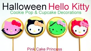 Halloween Hello Kitty Cookie Pops & Cupcake Toppers How To Based On Hello Kitty Mystery Minis