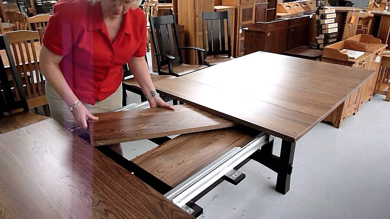 How amish dining table leaf storage works youtube for 3 leaf dining room tables