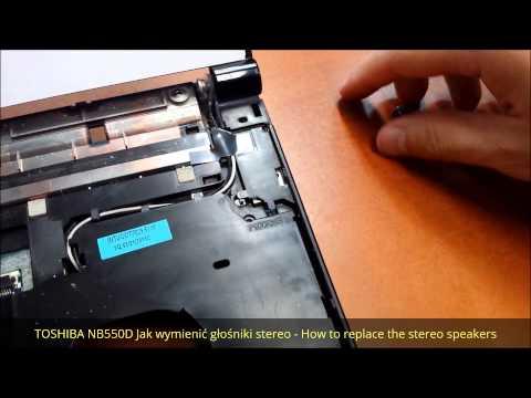 TOSHIBA NB550D Jak wymienić głośniki stereo - How to replace the stereo speakers