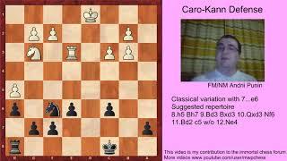 Chess - Caro-Kann Defense, Classical var. 7...e6 (for black) - 8.h5-11.Bd2 c5 w/o 12.Ne4