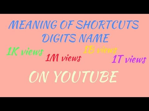 Meaning Of Shortcuts Digits Name 1k 1m 1b 1t On Youtube And Facebook Instagram