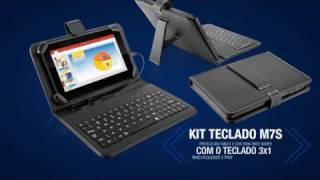 Tablet Multilaser M7S com teclado + case, Quad Core, Android 4.4, Dual Câmera, Tela 7'', Wi-Fi,  8GB