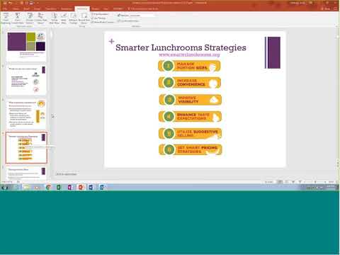 Smarter Lunchrooms Project Webinar for Group 1 Schools Fall