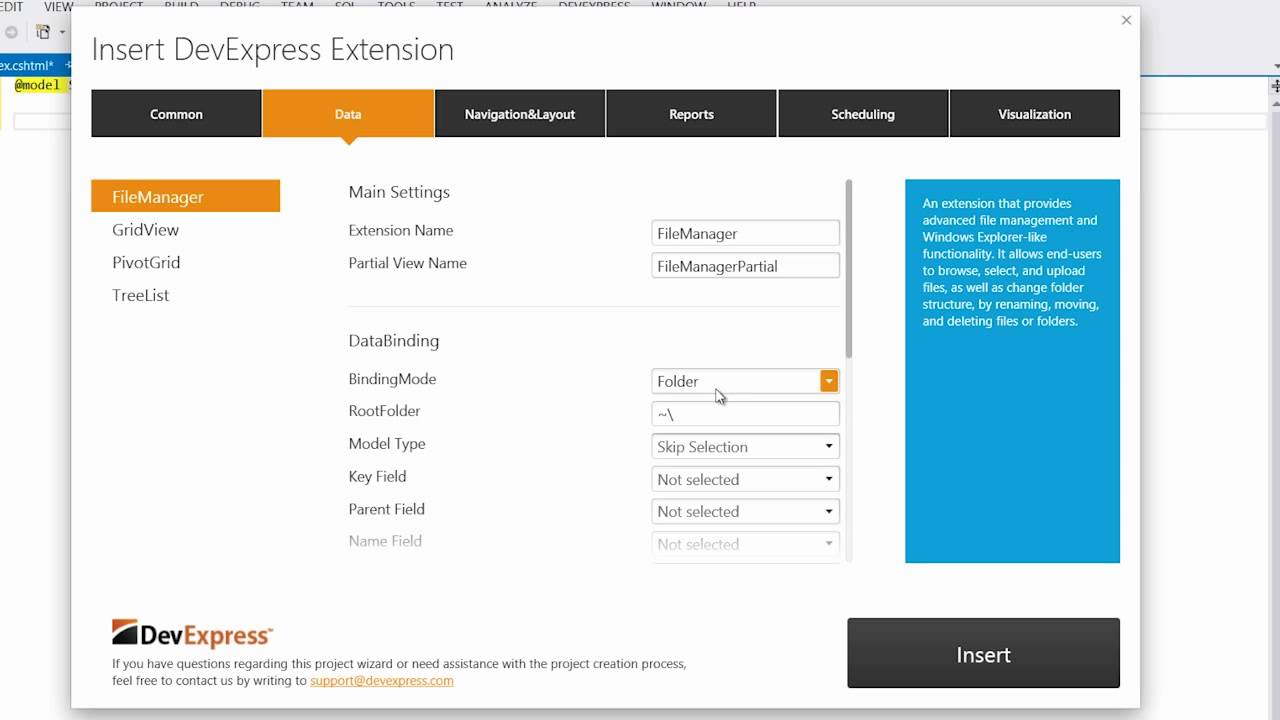 DevExpress ASP NET: MVC File Manager