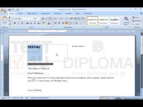Open the template1.dotx template and replace the text TEST4U with ...