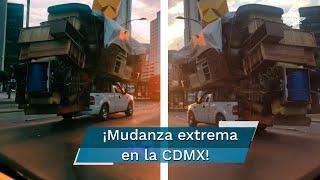 Esta pick-up captada en CDMX lleva las mudanzas a otro nivel