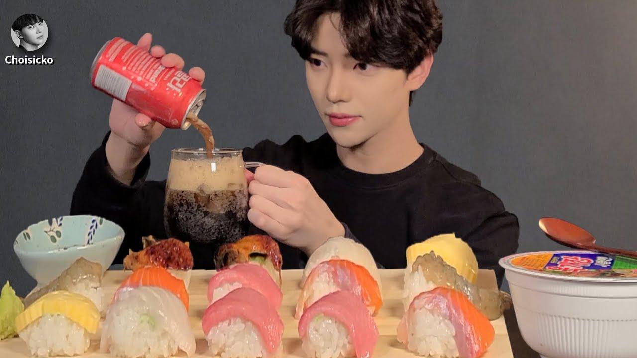 SUB)모듬초밥 먹방 (ft.육개장 컵라면)은행골 연어 참치 간장새우 광어 장어 ASMR MUKBANG  Korean Eating Show Sushi 寿司 gỏi cá ซูชิ
