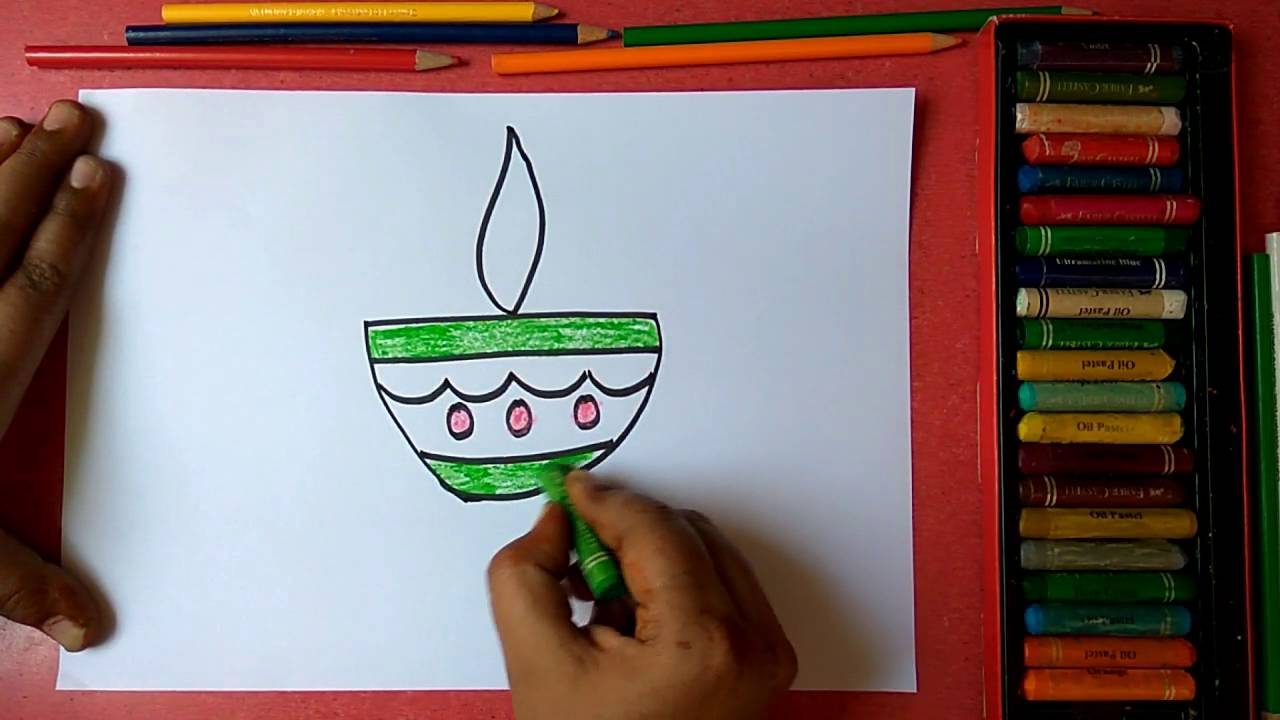 How to draw colorful diya step by step very easily for kids