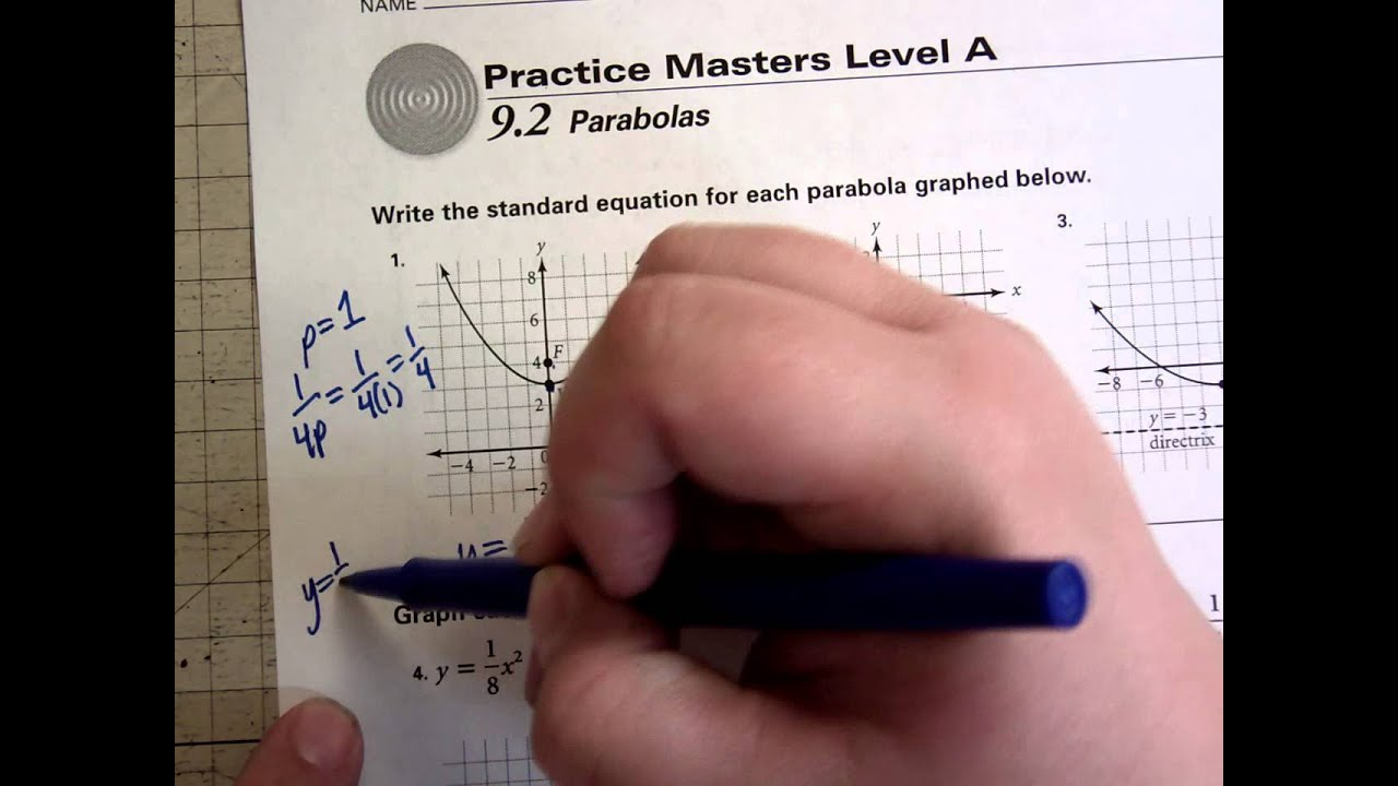 worksheet Graphing Conic Sections Worksheet conics parabola worksheet 1 youtube 1