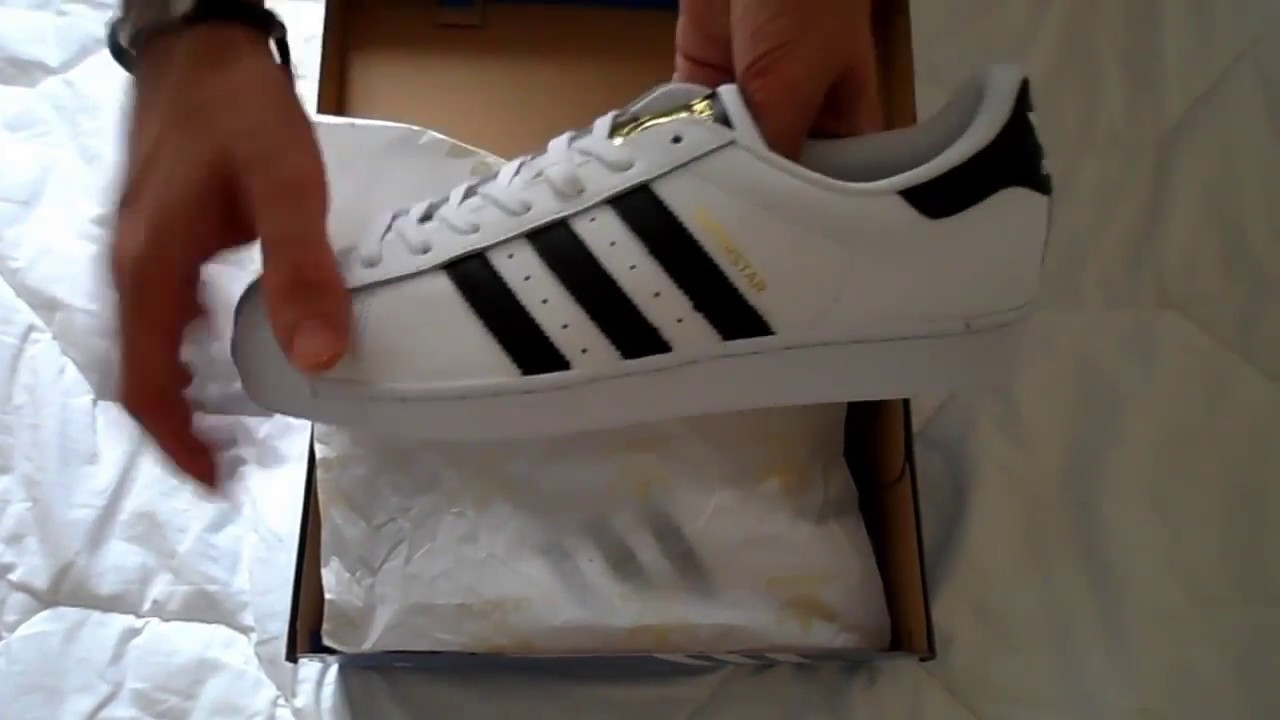 Adidas Superstar Baskets C77124 FTW White Core Black unboxing . <tr></tr> <div align=