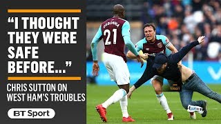 """""""They are in big trouble now!"""" Chris Sutton fears for West Ham after chaos at the London Stadium"""