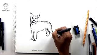 How to draw Australian Cattle Dog..easy dog drawing and illustration.