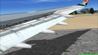 A340-300 South African landing in Johannesburg FSX HD