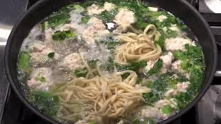 Chinese chicken meatballs noodles soup