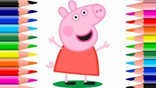 Peppa Pig! How To Draw Peppa Pig! Easy Kids Arts and Crafts Peppa Pig Coloring Pages