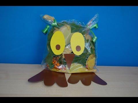 3Д сова из листьев и картона. Осенние поделки из природного материала в детский сад и школу.