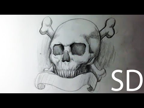 Drawing Skull Crossbones Tattoo Skull Drawings Youtube