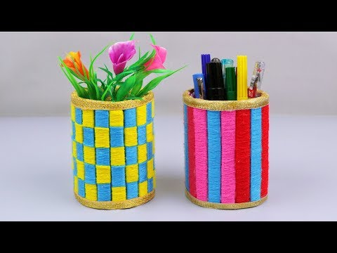 How to Make a Pen Stand and flower vase // School project ideas