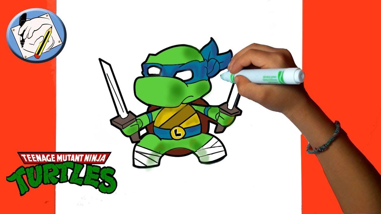 Dibujos Para Niños Como Dibujar Y Colorear A Leonardo Leo Tortugas Ninjas Fácil Youtube