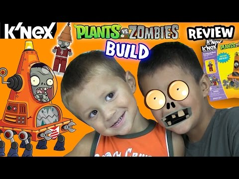 Plants vs. Zombies K'nex: Motorized CONE MECH!! Timelapse Build & Review w/ Chase, Mike & Dad