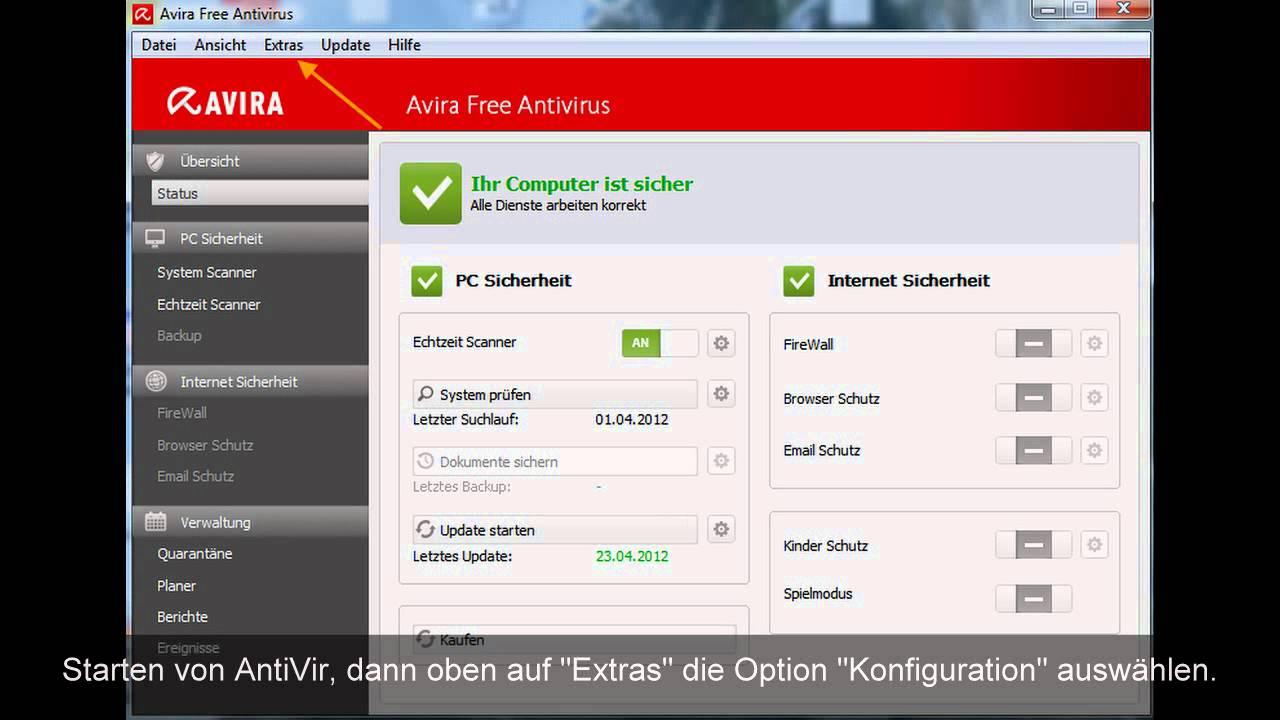 avira software updater deaktivieren