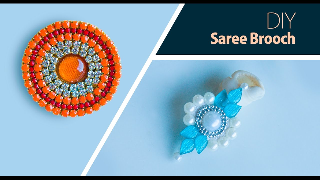 98356564e05eb How to make saree pin at home | DIY brooch | saree brooch making | jewelry  making | Beads art