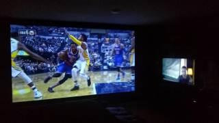 "150"" projector screen vs 50"" Vizio flat screen"