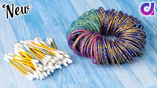 Best use of waste Bangles & Cotton Buds Craft idea | DIY Home Decor | Artkala