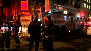 FDNY AT AFTERMATH OF 10-75 FIRE ON WEST 83RD STREET ON THE WEST SIDE OF MANHATTAN IN NEW YORK CITY.