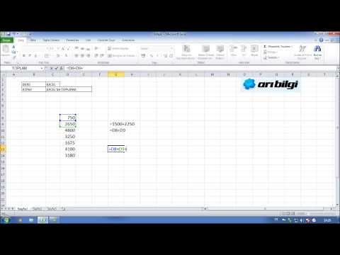 Excel Kursu Eğitimi Videosu - Excelde Toplam İşlevi