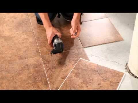 making a curved cut to install vinyl tile with the dremel mm30