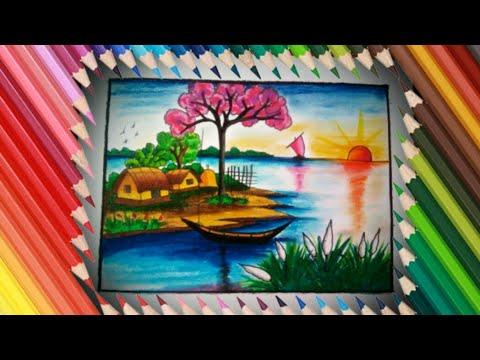 Village Scenery in Beautiful Landscape drawing _ step by step very easy