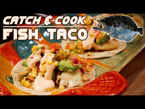 Catch And Cook FISH TACOS! Fluke, Roast Corn - Kimchi Salsa, Tempura Flounder