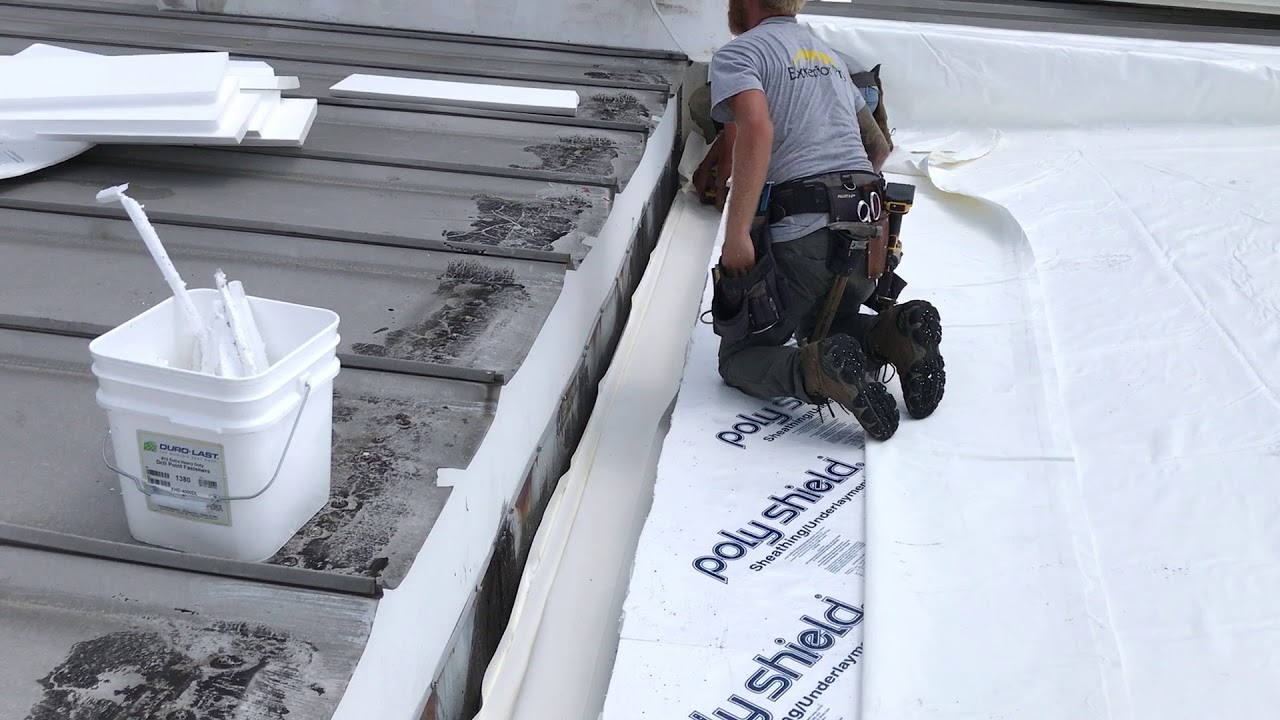 Metal Roof Repair Integrated Gutter Liner Youtube
