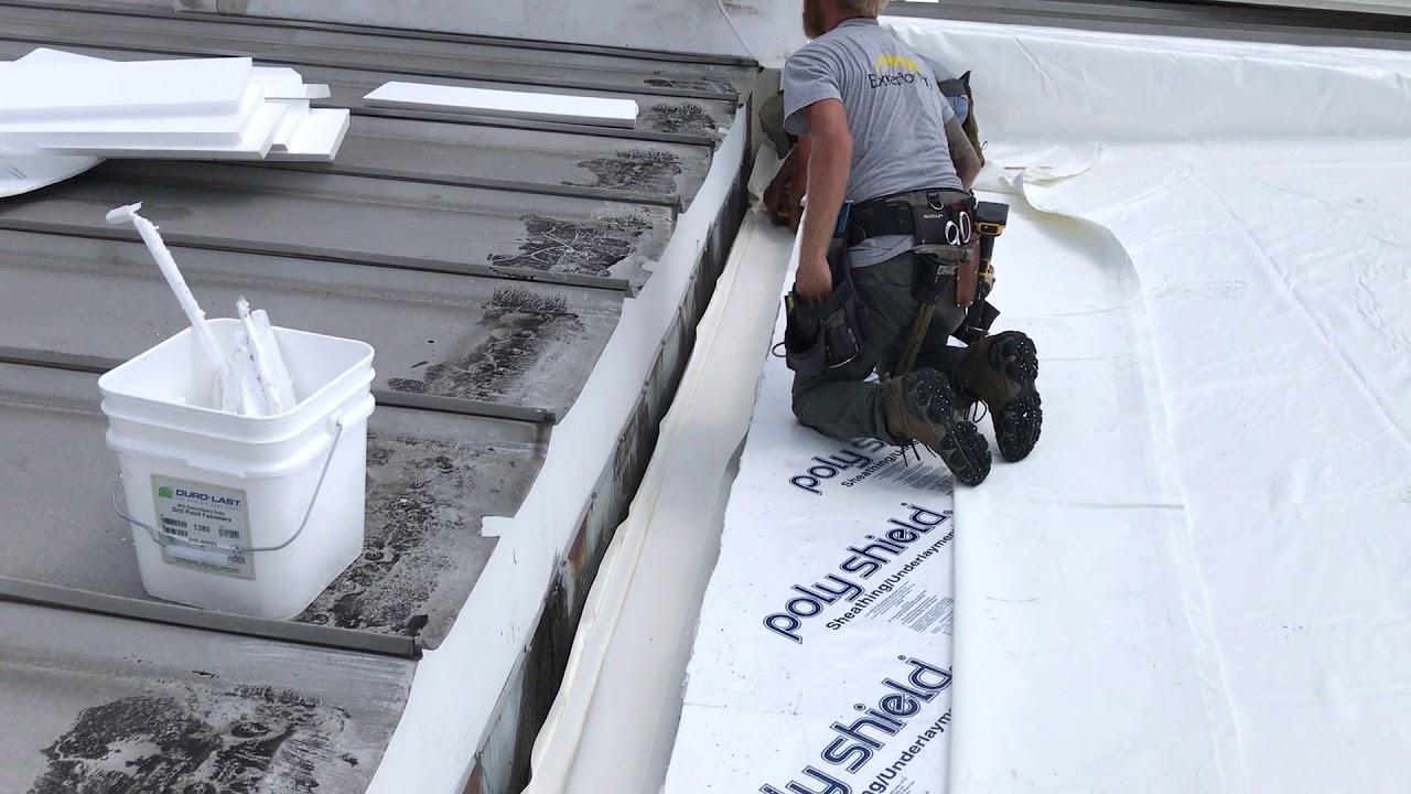 Metal Roof Repair Integrated Gutter Liner Youtube