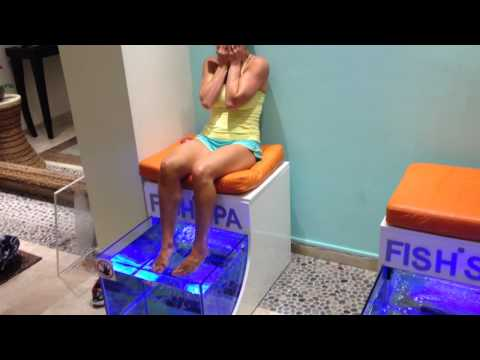 Lady freaks out at a fish spa in Mexico
