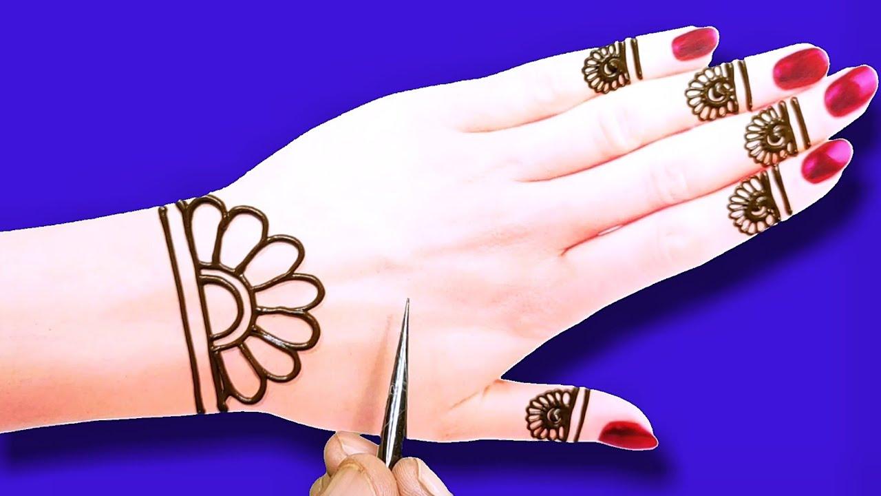 रक्षाबंधन स्पेशल आसान मेहंदी डिजाइन-back hand Arabic Henna mehndi design-very easy Rakhi mehndi desi