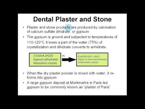 Gypsum Dental Materials - Type 1 Type 2 Type 3 Type 4 Type 5 - Properties - ST and Expansion