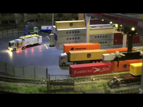 Z Gauge Model Railway Intermodal Freight Terminal with Z Scale Model Trains