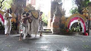 Scary dance, Barongan and Kris Dance in Bali, Indonesia